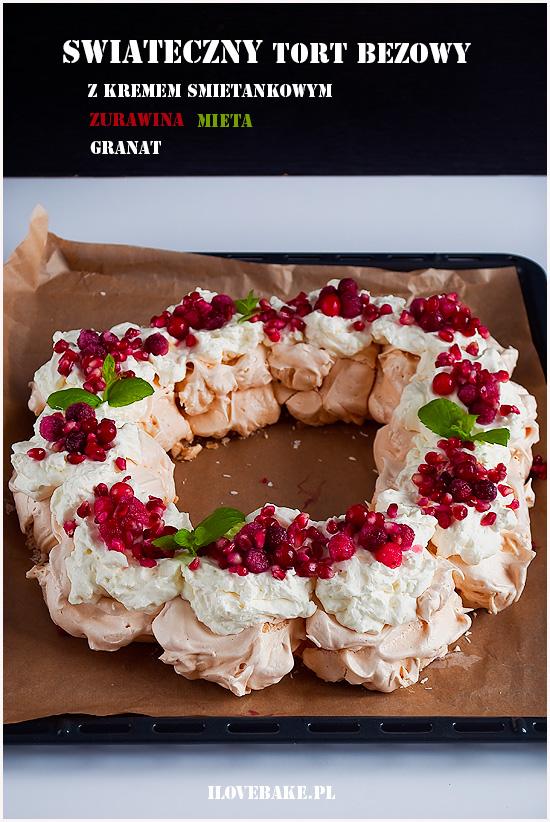 tort bezowy wieniec