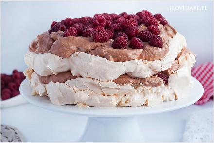 tort bezowy z kremem czekoladowym-5