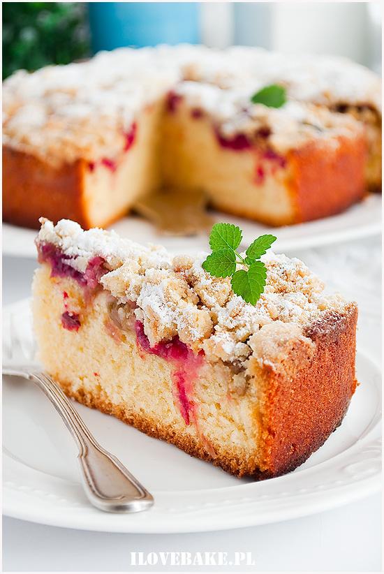 ciasto ucierane z rabarbarem