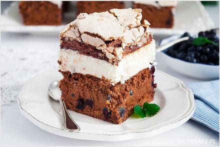 Ciasto tortowe z jagodami i bezą-12